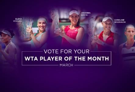Веснина признана лучшей теннисисткой марта, Одзаки— «Прорыв месяца»