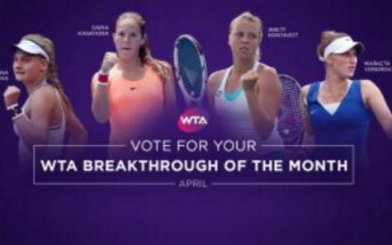 Россиянка Дарья Касаткина выиграла приз в категории «Прорыв месяца WTA»